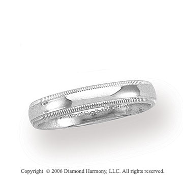 Platinum 4mm Domed Comfort Fit Milgrain Wedding Band