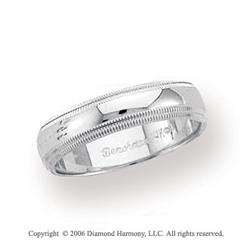 Platinum 5mm Domed Comfort Fit Milgrain Wedding Band