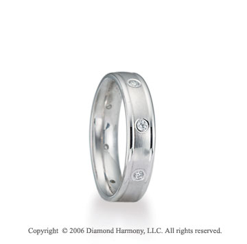 Platinum C/F 4mm Ridge 1/3  Carat Diamond Wedding Band