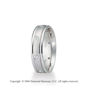 Platinum C/F 6mm Ridge 1/6  Carat Diamond Wedding Band