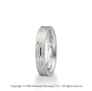 Platinum C/F 4mm Flat 1/3  Carat Diamond Wedding Band