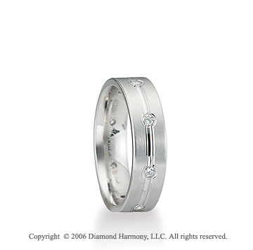 Platinum C/F 6mm Flat 1/3  Carat Diamond Wedding Band