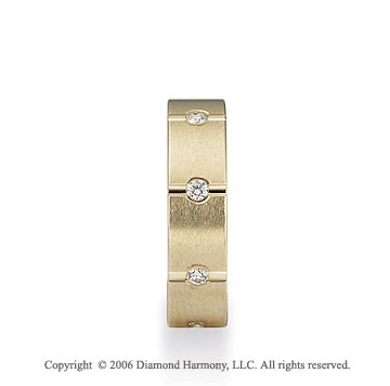 14k Yellow Gold 6mm Segments 1/3  Carat Diamond Wedding Band