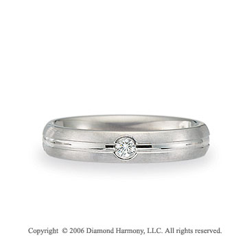 14k White Gold C-Fit 4mm Groove Diamond Wedding Band
