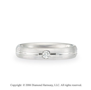 Platinum C-Fit 4mm Groove Diamond Wedding Band