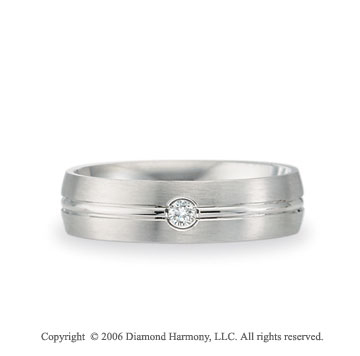 Platinum C-Fit 6mm Groove Diamond Wedding Band
