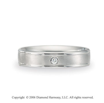 Platinum Comfort-F 4mm Ridge Diamond Wedding Band