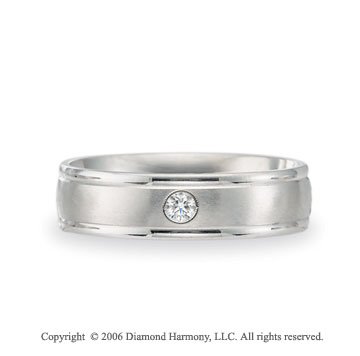 Platinum Comfort-F 6mm Ridge Diamond Wedding Band