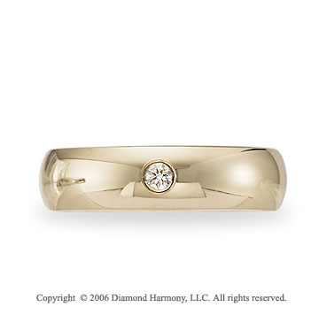 14k Yellow Gold Shiny 6mm Comfort-F Diamond Wedding Band
