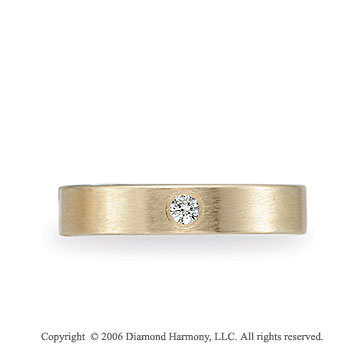 14k Yellow Gold 4mm Flat Comfort-F Diamond Wedding Band