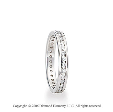 14k White Gold 3mm Eternity C/F � Carat Diamond Wedding Band