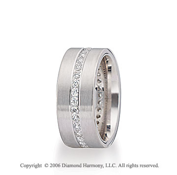 14k White Gold 8mm Eternity C/F � Carat Diamond Wedding Band