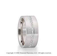 14k White Gold 8mm C/F Brushed 1/3 Carat Diamond Wedding Band