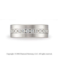 14k White Gold 8mm C/F Brushed �  Carat Diamond Wedding Band