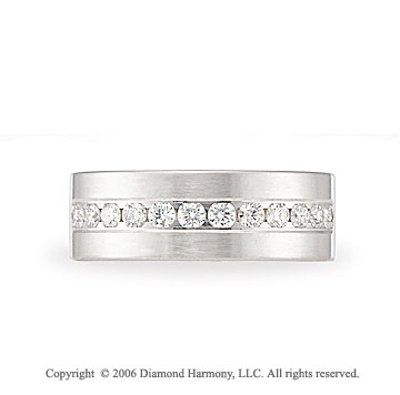 Platinum 8mm C/F Brushed �  Carat Diamond Wedding Band