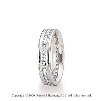 14k White Gold 4mm Eternity C/F � Carat Diamond Wedding Band