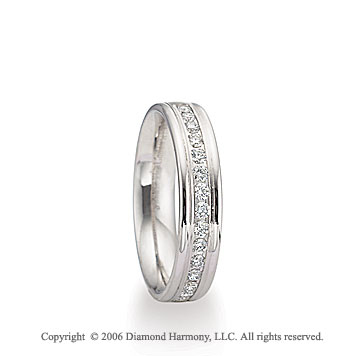 14k White Gold 4mm C/F Shiny 1/3  Carat Diamond Wedding Band