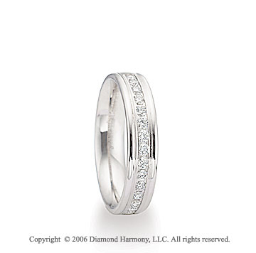 Platinum 4mm C/F Shiny 1/3  Carat Diamond Wedding Band
