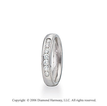 14k White Gold 4mm C-Fit Milgrain Diamond Wedding Band