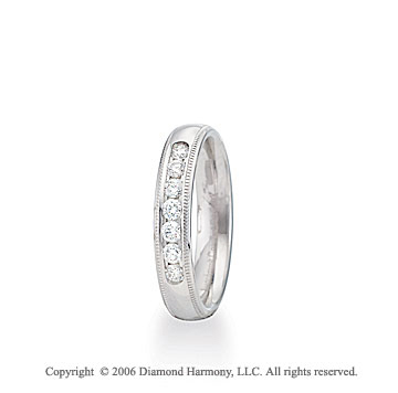 Platinum 4mm C-Fit Milgrain Diamond Wedding Band