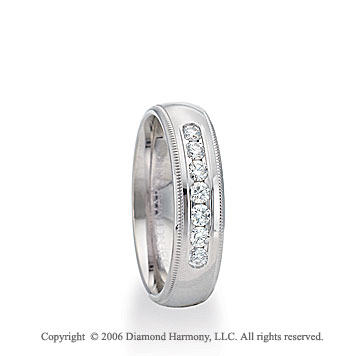 14k White Gold 6mm C-Fit Milgrain Diamond Wedding Band