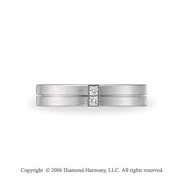 14k White Gold 4mm Grooved C-Fit Diamond Wedding Band