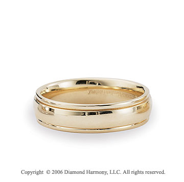 14k Yellow Gold 6mm Shiny Comfort Fit Fancy Wedding Band