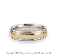 14k Two Tone Gold Yellow on White 6mm C/F Fancy Wedding Band