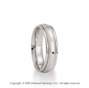 14k White Gold 6mm Milgrain C-Fit Fancy Wedding Band