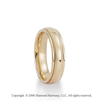 14k Yellow Gold 6mm Milgrain C-Fit Fancy Wedding Band
