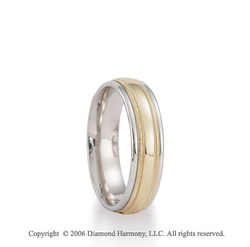14k Two Tone Gold Yellow Milgrain on White 6mm C-Fit Wedding Band