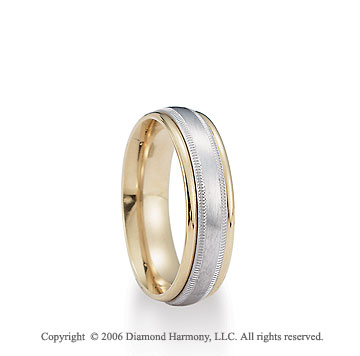 14k Two Tone Gold White Milgrain on Yellow 6mm C-Fit Wedding Band
