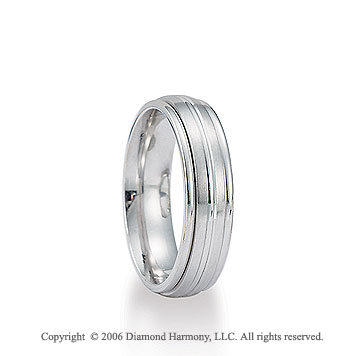 14k White Gold Groove 6mm Shiny C/F Fancy Wedding Band