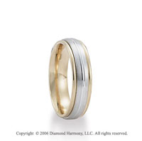 14k Two Tone Gold White on Yellow 6mm Groove C/F Fancy Wedding Band