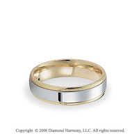 14k Two Tone Gold White on Yellow 6mm Shiny C/F Fancy Wedding Band