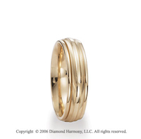 14k Yellow Gold Ridge 6mm Shiny C-Fit Fancy Wedding Band