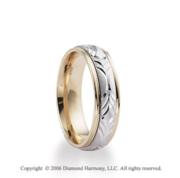 14k Two Tone Gold 6mm Carved Comfort Fit Wedding Band