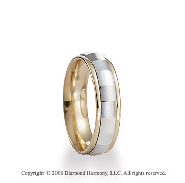 14k Two Tone Gold Diamond Cut White C-Fit Fancy Wedding Band