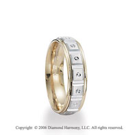 14k Two Tone Gold Diamond Cut 6mm C-Fit Fancy Wedding Band