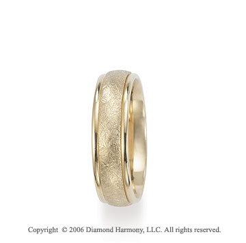 14k Yellow Gold Florentine 6mm C/F Fancy Wedding Band