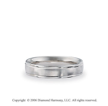 14k White Gold Brushed 6mm Comfort-F Fancy Wedding Band