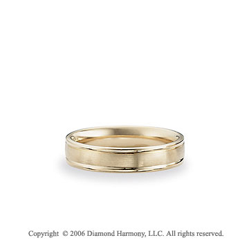 14k Yellow Gold Brushed 6mm Comfort-F Fancy Wedding Band
