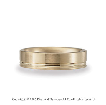 14k Yellow Gold Groove Brushed 6mm C/F Fancy Wedding Band