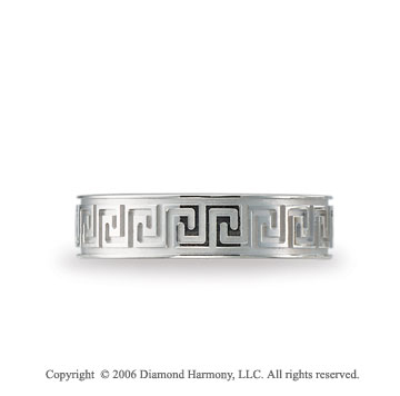 14k White Gold Greek Key 6mm C-Fit Fancy Wedding Band