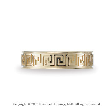 14k Yellow Gold Greek Key 6mm C/F Fancy Wedding Band