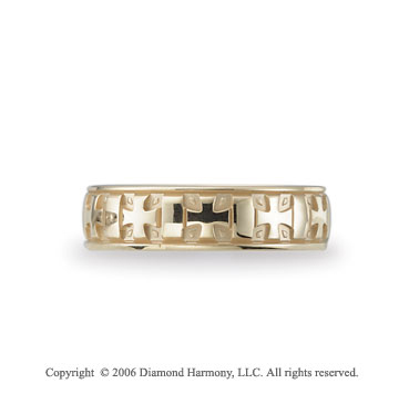 14k Yellow Gold Crosses 6mm C-Fit Fancy Wedding Band