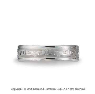 14k White Gold 6mm Greek Key C-Fit Fancy Wedding Band