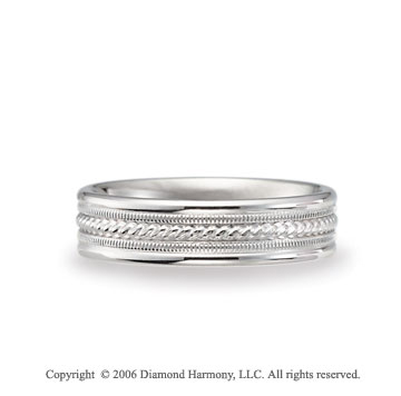 14k White Gold Milgrain Rope C/F Fancy Wedding Band