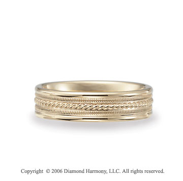 14k Yellow Gold Milgrain Rope C/F Fancy Wedding Band