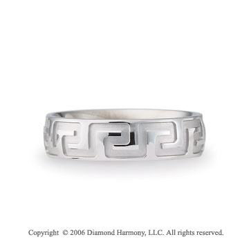 14k White Gold Lg Greek Key 6mm C/F Fancy Wedding Band